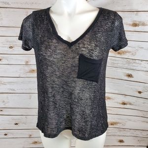 Charlotte Russ V-Neck with Pocket Black Tee Size S